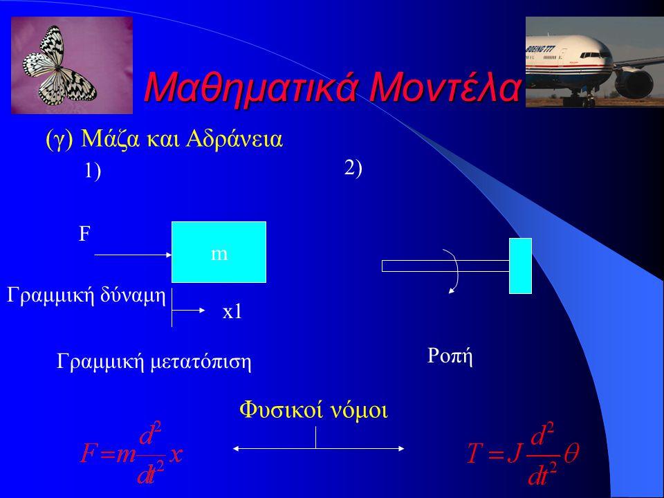 Μαθηματικά Μοντέλα (γ) Μάζα και Αδράνεια Φυσικοί νόμοι 2) 1) F m