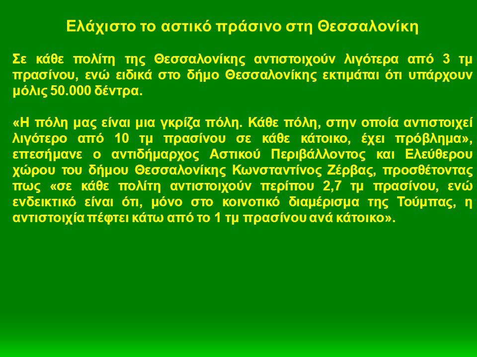Ελάχιστο το αστικό πράσινο στη Θεσσαλονίκη