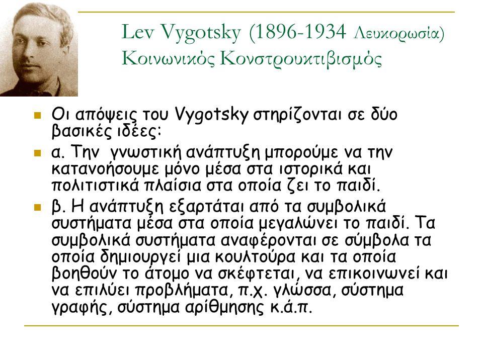 Lev Vygotsky (1896-1934 Λευκορωσία) Κοινωνικός Κονστρουκτιβισμός