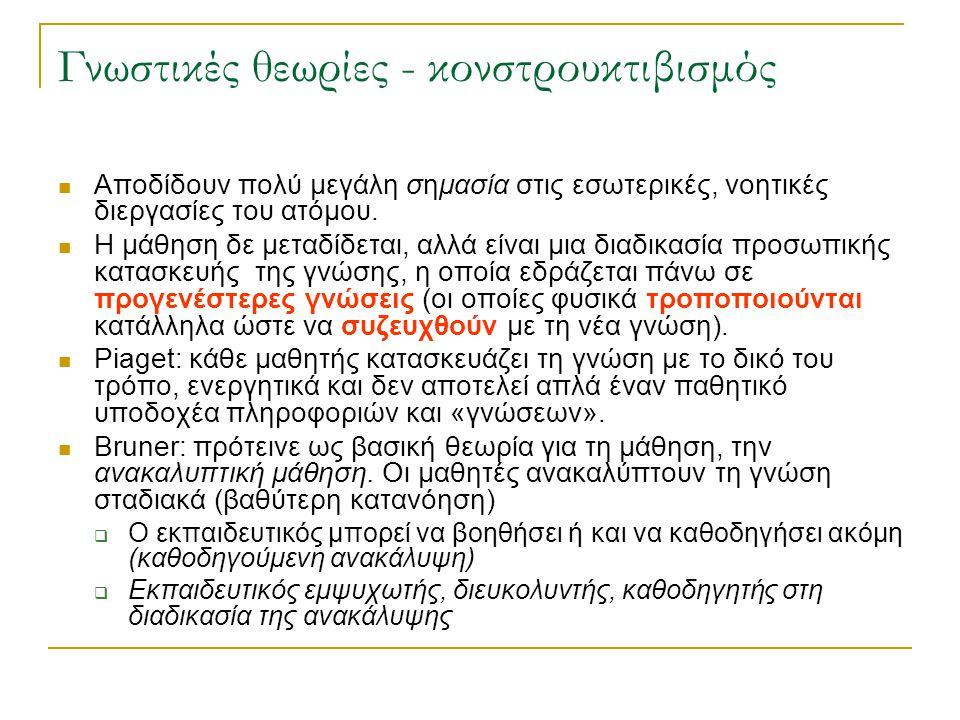 Γνωστικές θεωρίες - κονστρουκτιβισμός