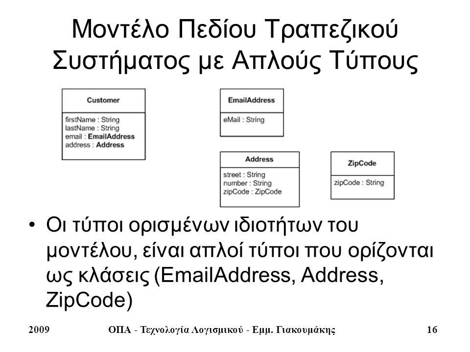 Μοντέλο Πεδίου Τραπεζικού Συστήματος με Απλούς Τύπους
