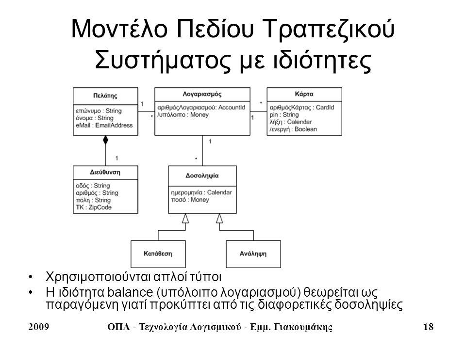 Μοντέλο Πεδίου Τραπεζικού Συστήματος με ιδιότητες