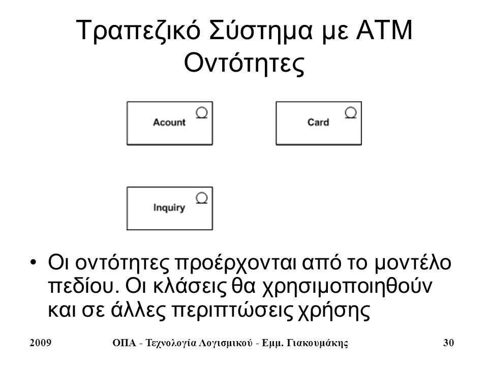 Τραπεζικό Σύστημα με ΑΤΜ Οντότητες