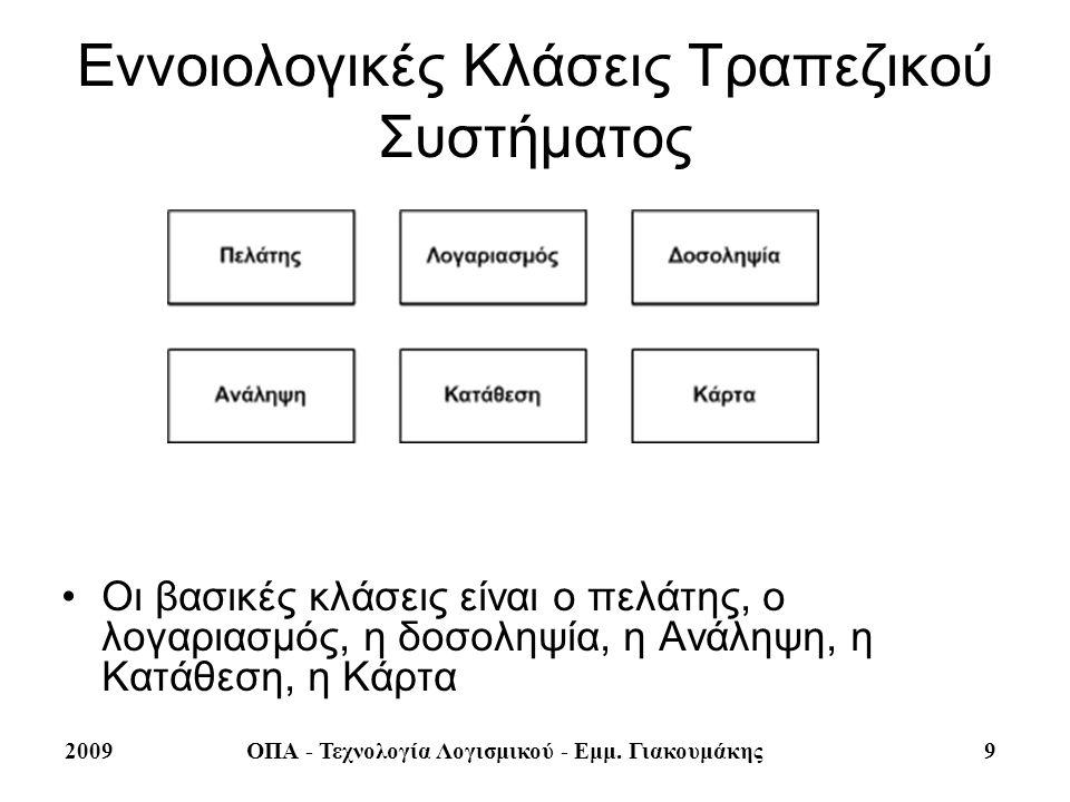 Εννοιολογικές Κλάσεις Τραπεζικού Συστήματος