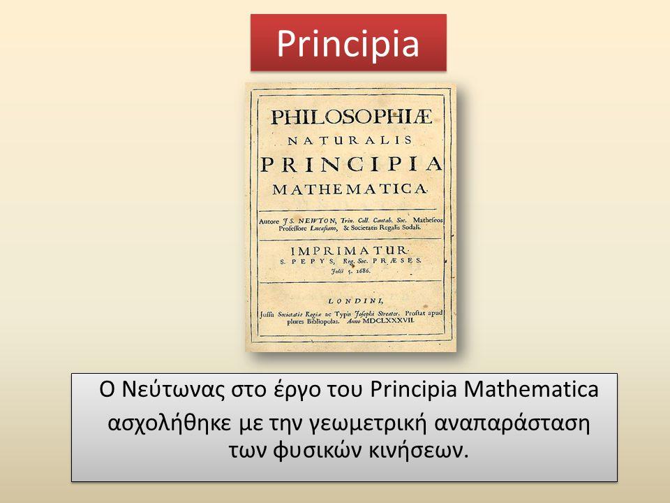Principia Ο Νεύτωνας στο έργο του Principia Mathematica ασχολήθηκε με την γεωμετρική αναπαράσταση των φυσικών κινήσεων.