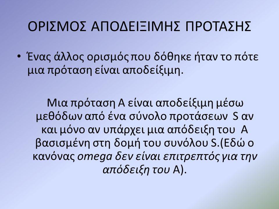 ΟΡΙΣΜΟΣ ΑΠΟΔΕΙΞΙΜΗΣ ΠΡΟΤΑΣΗΣ