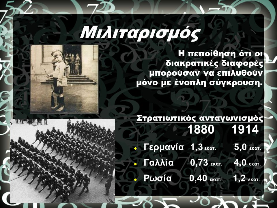 Μιλιταρισμός 1880 1914 Γερμανία 1,3 εκατ. 5,0 εκατ.