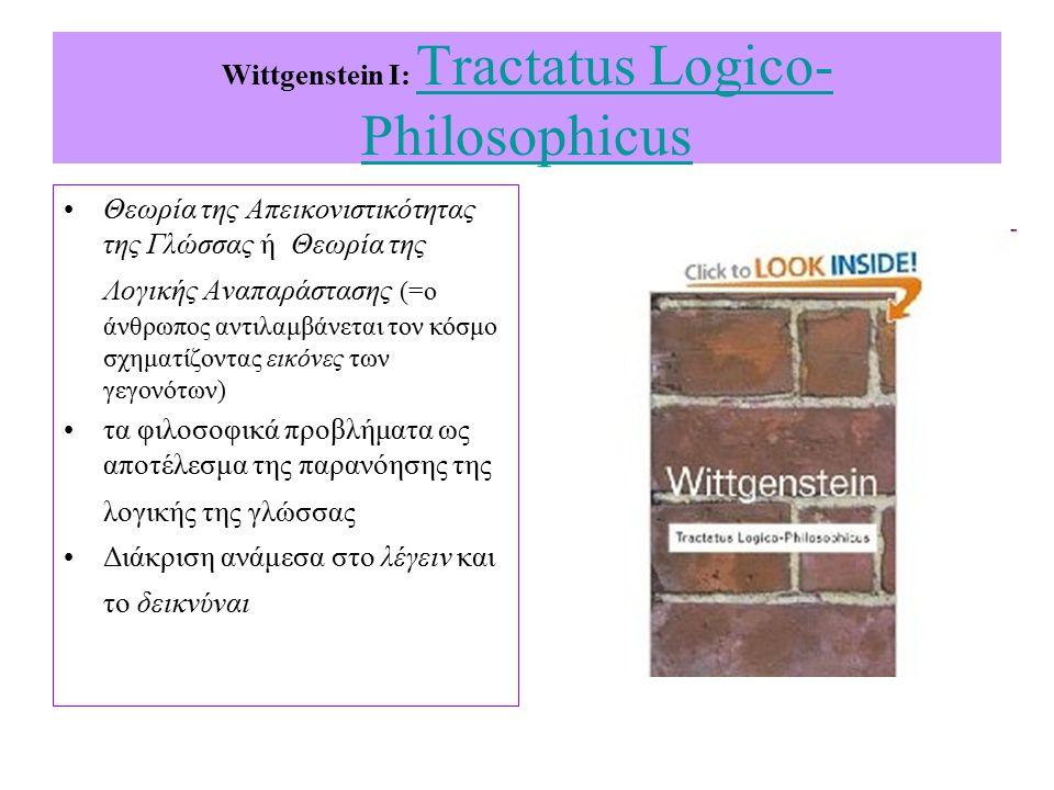 Wittgenstein I: Tractatus Logico-Philosophicus