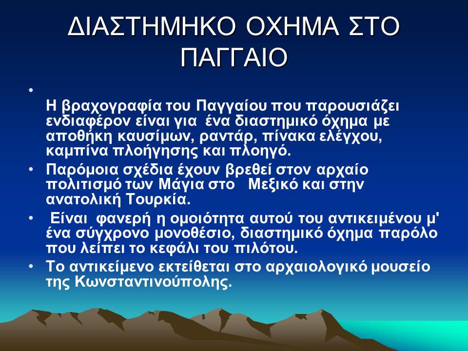 ΔΙΑΣΤΗΜΗΚΟ ΟΧΗΜΑ ΣΤΟ ΠΑΓΓΑΙΟ