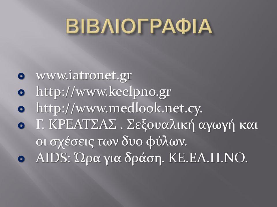 ΒΙΒΛΙΟΓΡΑΦΙΑ www.iatronet.gr http://www.keelpno.gr