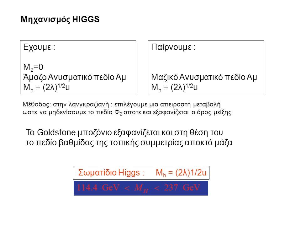 Άμαζο Ανυσματικό πεδίο Αμ Mh = (2λ)1/2u Παίρνουμε :