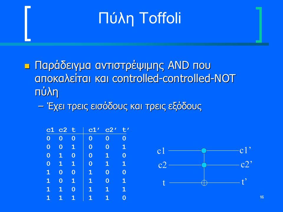 Πύλη Toffoli Παράδειγμα αντιστρέψιμης AND που αποκαλείται και controlled-controlled-NOT πύλη. Έχει τρεις εισόδους και τρεις εξόδους.