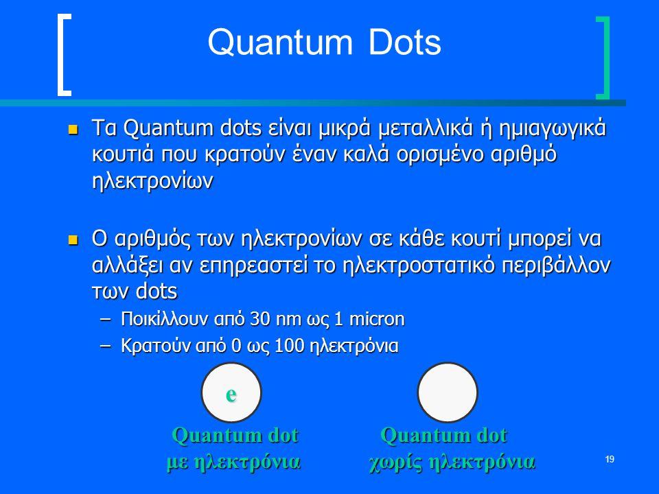 Quantum Dots Τα Quantum dots είναι μικρά μεταλλικά ή ημιαγωγικά κουτιά που κρατούν έναν καλά ορισμένο αριθμό ηλεκτρονίων.