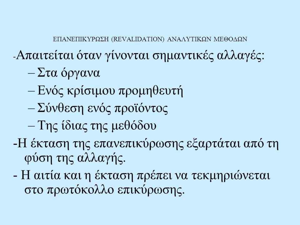 ΕΠΑΝΕΠΙΚΥΡΩΣΗ (REVALIDATION) ΑΝΑΛΥΤΙΚΩΝ ΜΕΘΟΔΩΝ
