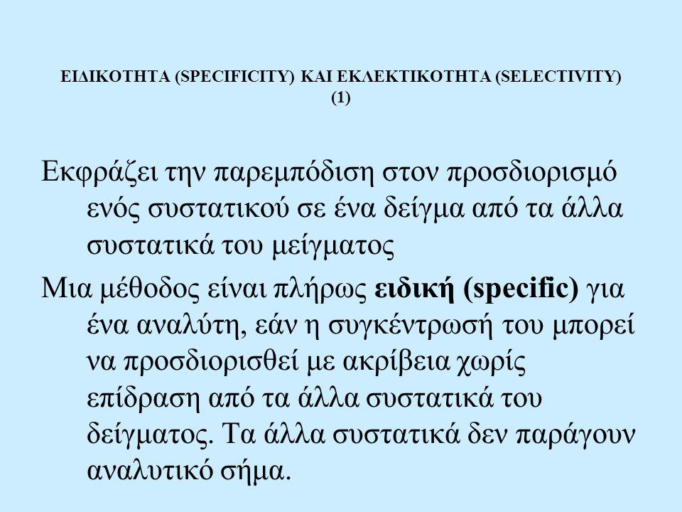 ΕΙΔΙΚΟΤΗΤΑ (SPECIFICITY) ΚΑΙ ΕΚΛΕΚΤΙΚΟΤΗΤΑ (SELECTIVITY) (1)