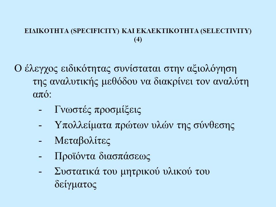ΕΙΔΙΚΟΤΗΤΑ (SPECIFICITY) ΚΑΙ ΕΚΛΕΚΤΙΚΟΤΗΤΑ (SELECTIVITY) (4)