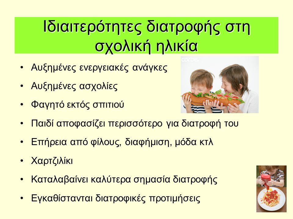 Ιδιαιτερότητες διατροφής στη σχολική ηλικία