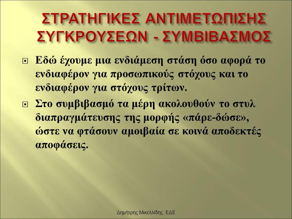 ΣΤΡΑΤΗΓΙΚΕΣ ΑΝΤΙΜΕΤΩΠΙΣΗΣ ΣΥΓΚΡΟΥΣΕΩΝ - ΣΥΜΒΙΒΑΣΜΟΣ