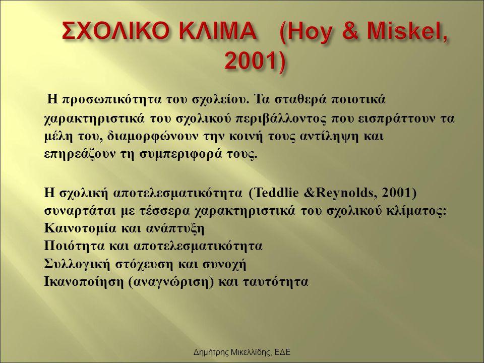 ΣΧΟΛΙΚΟ ΚΛΙΜΑ (Hoy & Miskel, 2001)