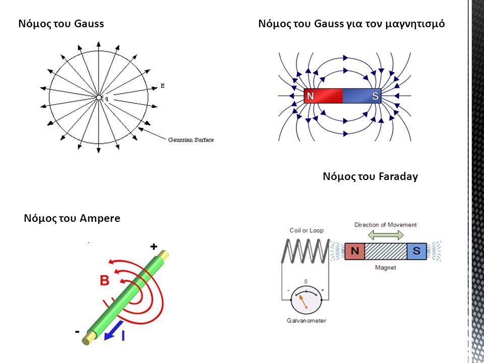 Νόμος του Gauss Νόμος του Gauss για τον μαγνητισμό Νόμος του Faraday Νόμος του Ampere