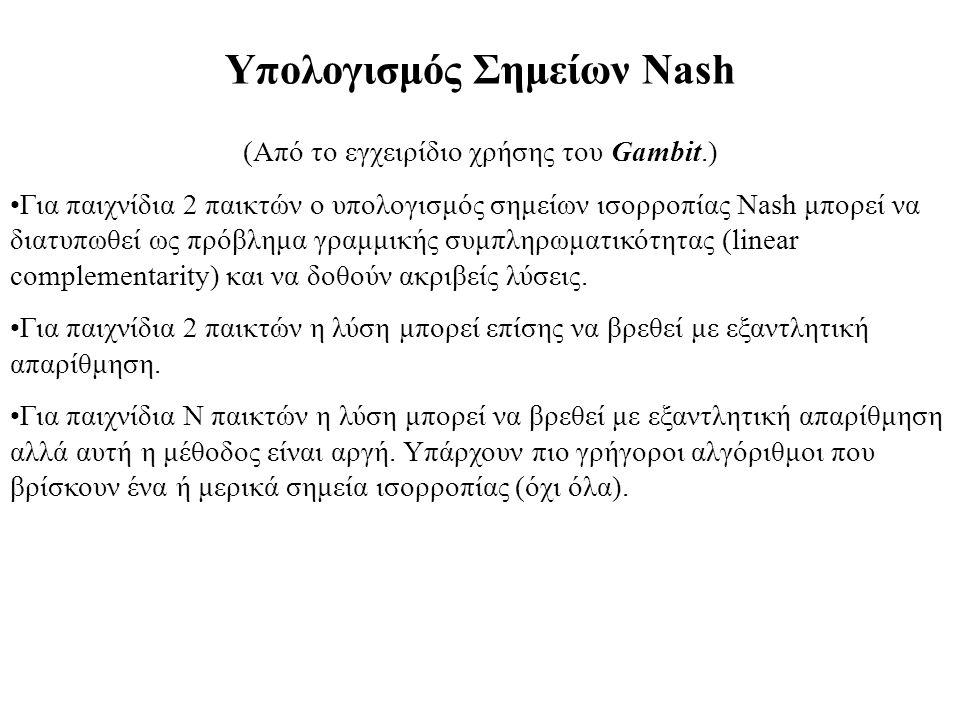 Υπολογισμός Σημείων Nash