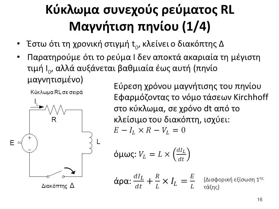 Κύκλωμα συνεχούς ρεύματος RL Μαγνήτιση πηνίου (2/4)