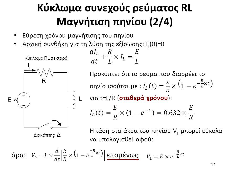 Κύκλωμα συνεχούς ρεύματος RL Μαγνήτιση πηνίου (3/4)