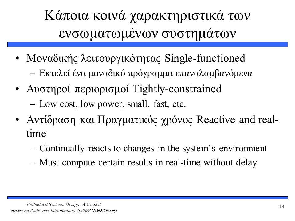 Κάποια κοινά χαρακτηριστικά των ενσωματωμένων συστημάτων