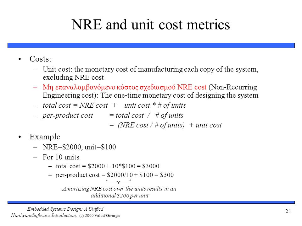NRE and unit cost metrics