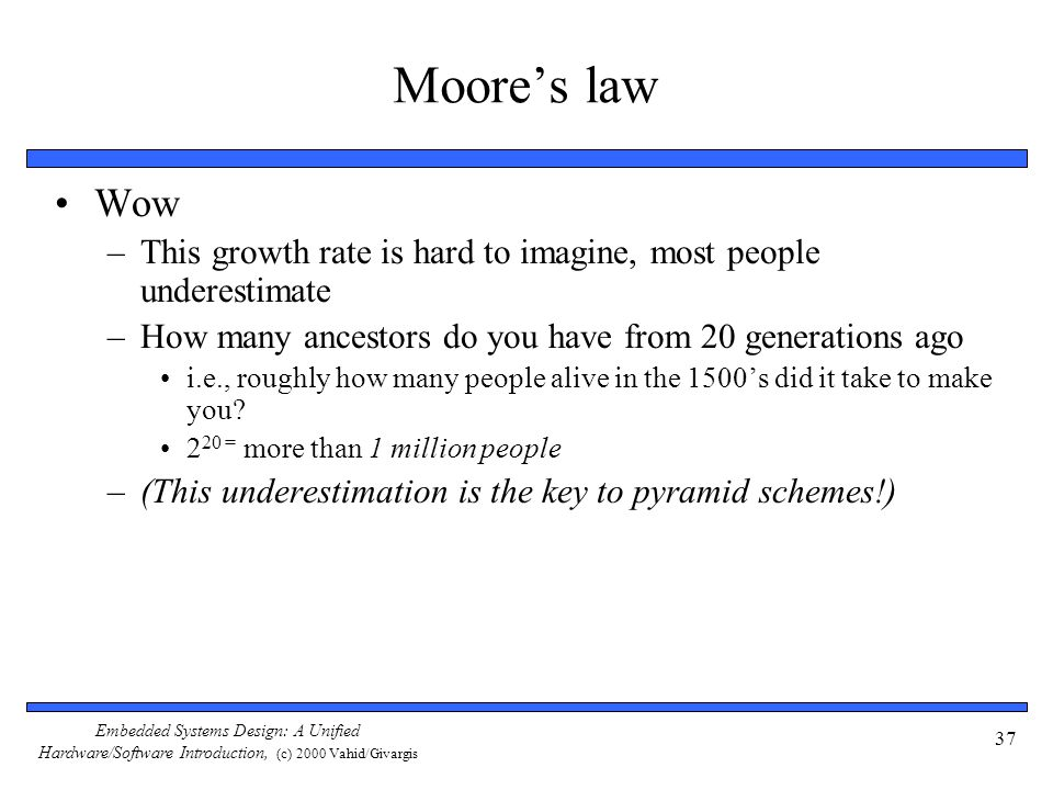 Moore's law Wow. This growth rate is hard to imagine, most people underestimate. How many ancestors do you have from 20 generations ago.