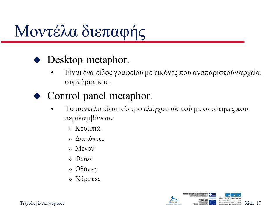 Μοντέλα διεπαφής Desktop metaphor. Control panel metaphor.