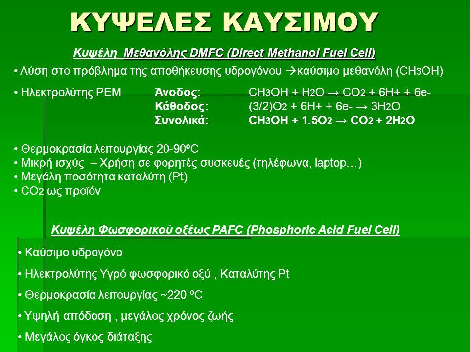 ΚΥΨΕΛΕΣ ΚΑΥΣΙΜΟΥ Κυψέλη Μεθανόλης DMFC (Direct Methanol Fuel Cell)