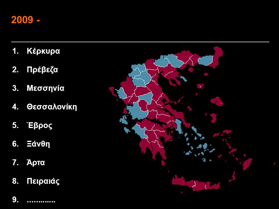 2009 - Κέρκυρα Πρέβεζα Μεσσηνία Θεσσαλονίκη Έβρος Ξάνθη Άρτα Πειραιάς