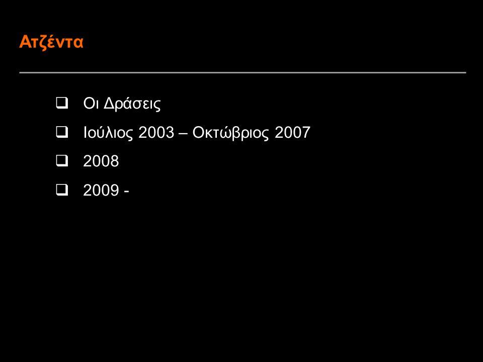 Ατζέντα Οι Δράσεις Ιούλιος 2003 – Οκτώβριος 2007 2008 2009 -