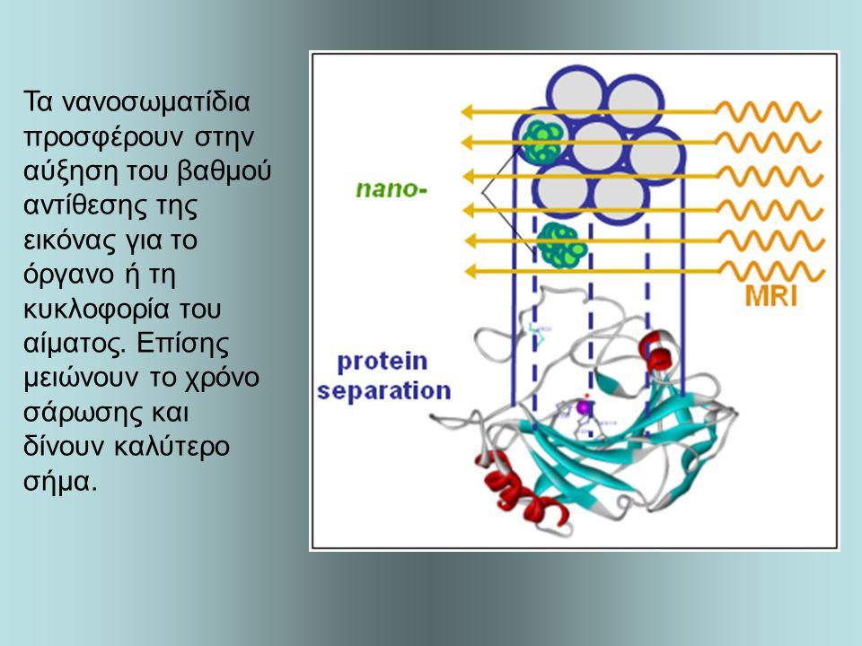 Τα νανοσωματίδια προσφέρουν στην αύξηση του βαθμού αντίθεσης της εικόνας για το όργανο ή τη κυκλοφορία του αίματος.