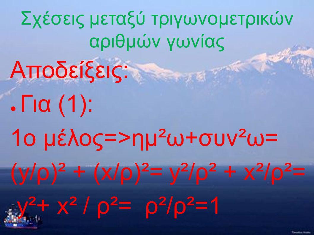 Σχέσεις μεταξύ τριγωνομετρικών αριθμών γωνίας