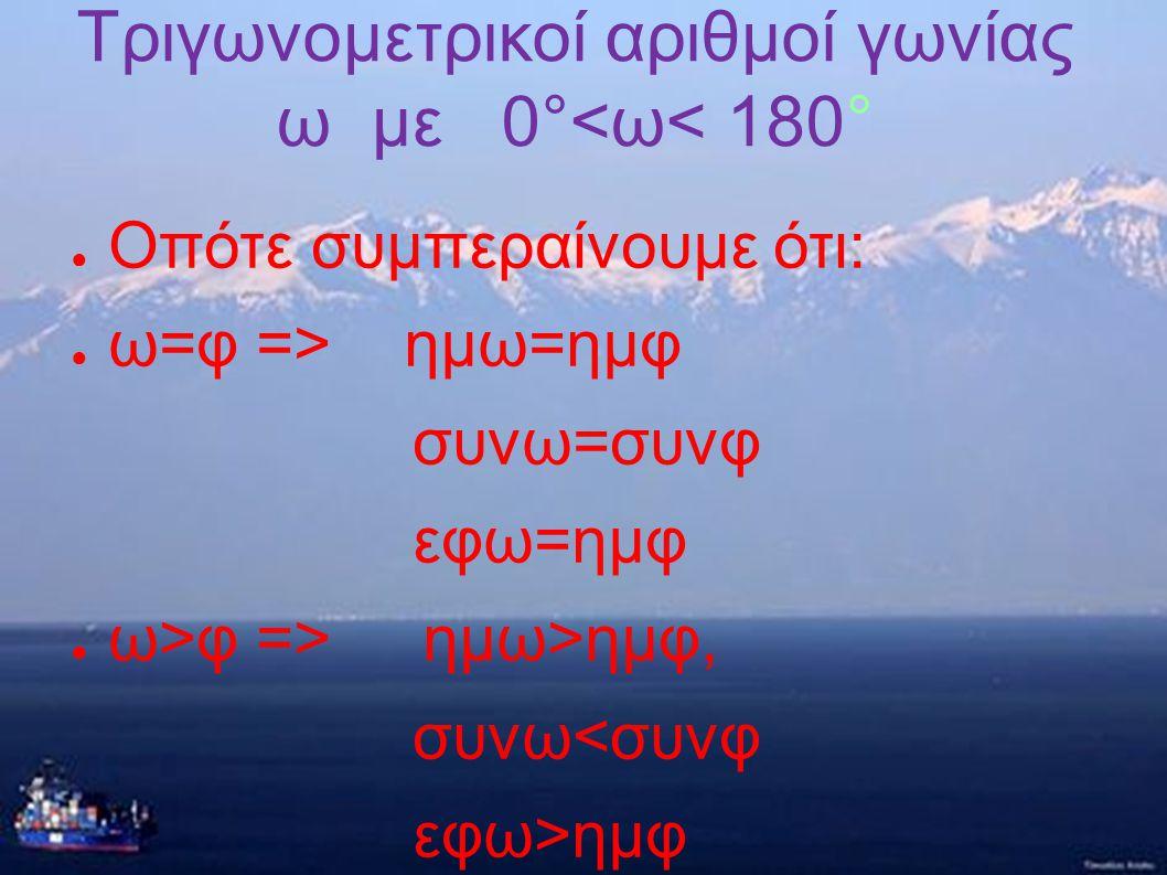 Τριγωνομετρικοί αριθμοί γωνίας ω με 0°<ω< 180°