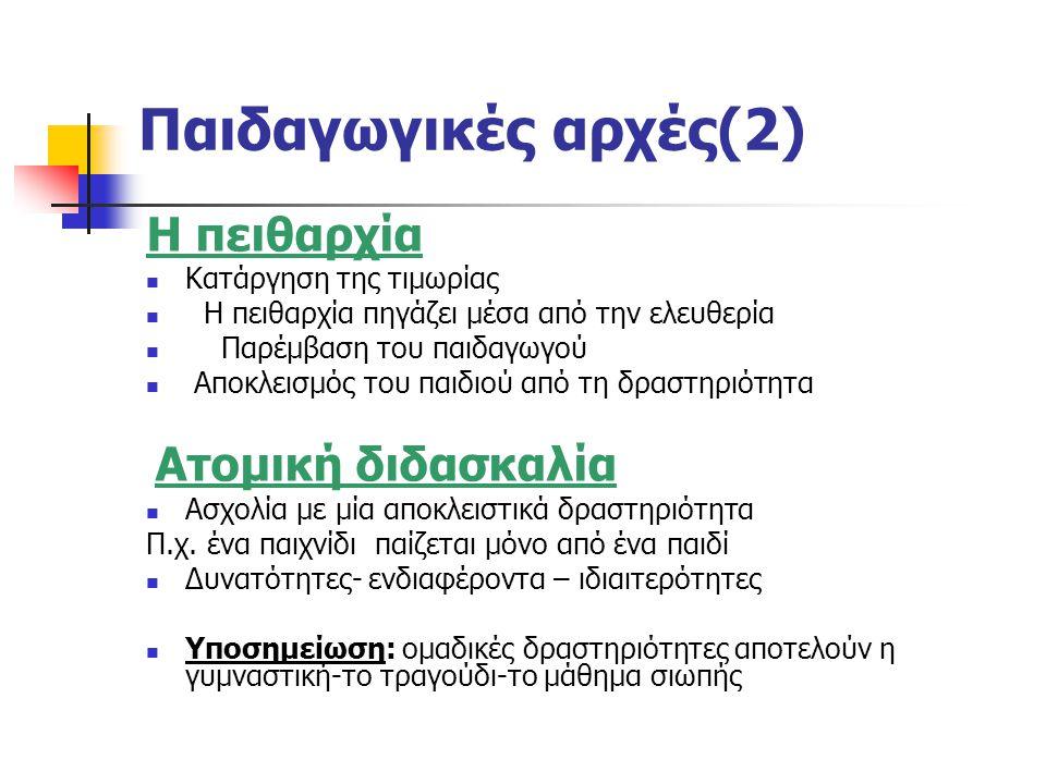 Παιδαγωγικές αρχές(2) Η πειθαρχία Κατάργηση της τιμωρίας