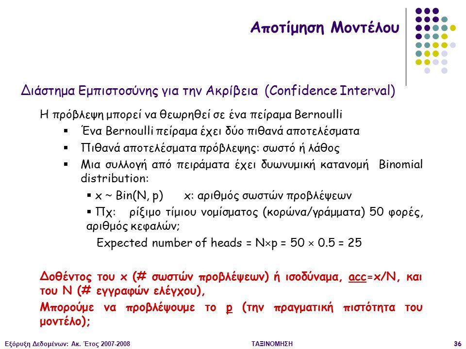Αποτίμηση Μοντέλου Διάστημα Εμπιστοσύνης για την Ακρίβεια (Confidence Interval) Η πρόβλεψη μπορεί να θεωρηθεί σε ένα πείραμα Bernoulli.