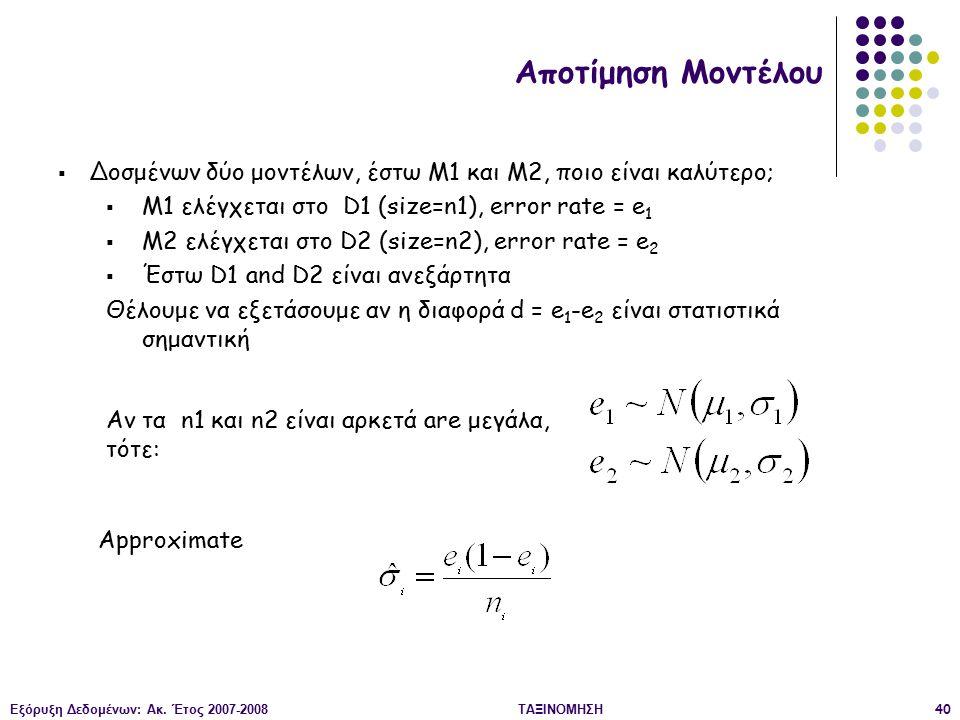 Αποτίμηση Μοντέλου Δοσμένων δύο μοντέλων, έστω M1 και M2, ποιο είναι καλύτερο; M1 ελέγχεται στο D1 (size=n1), error rate = e1.