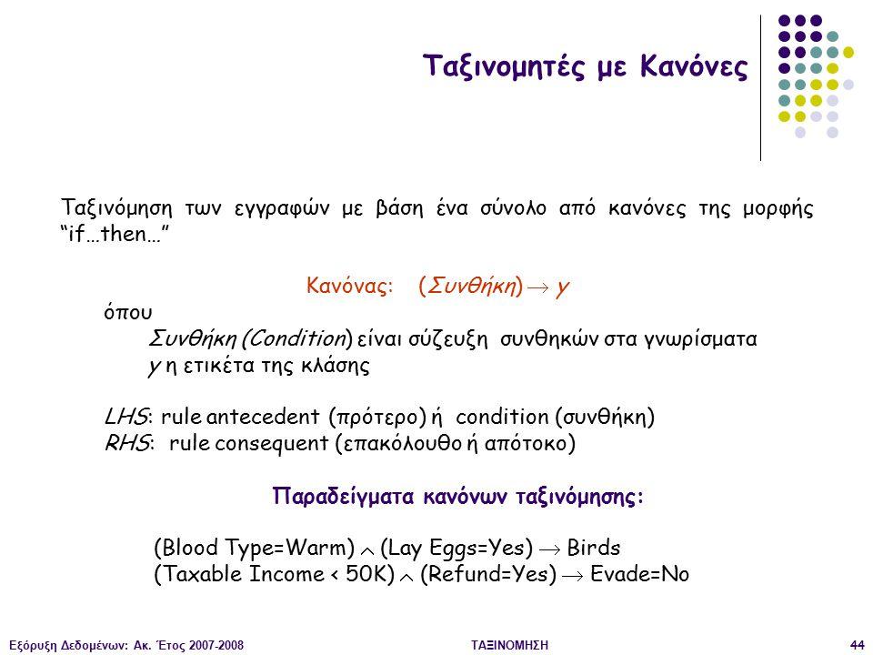 Παραδείγματα κανόνων ταξινόμησης: