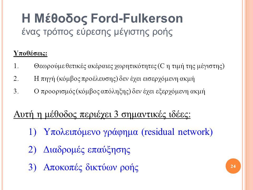 Η Μέθοδος Ford-Fulkerson ένας τρόπος εύρεσης μέγιστης ροής