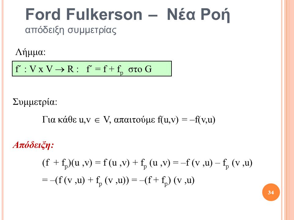 Ford Fulkerson – Νέα Ροή απόδειξη συμμετρίας