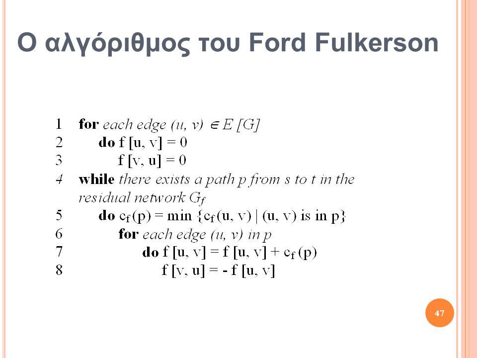 Ο αλγόριθμος του Ford Fulkerson