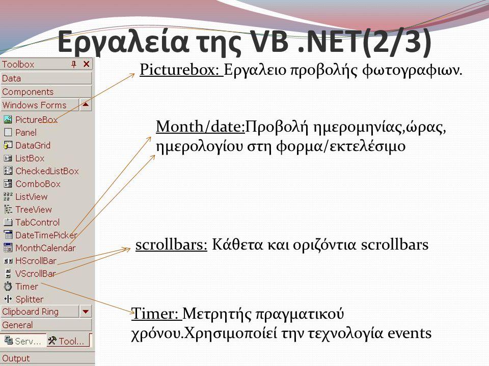 Εργαλεία της VB .NET(2/3) Picturebox: Εργαλειο προβολής φωτογραφιων.