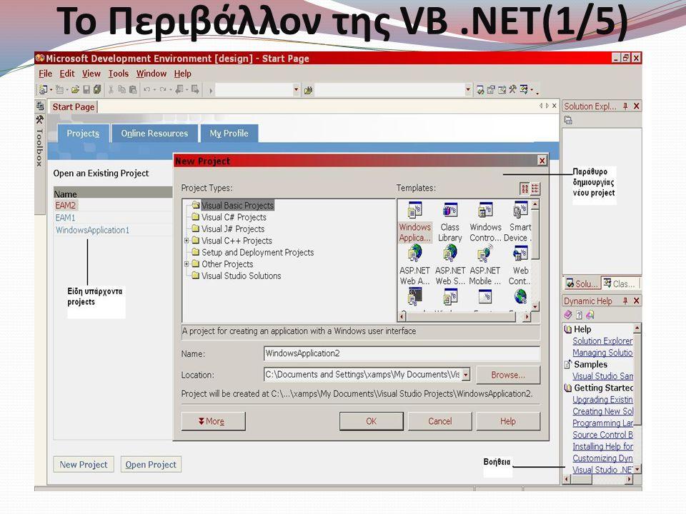 Το Περιβάλλον της VB .NET(1/5)