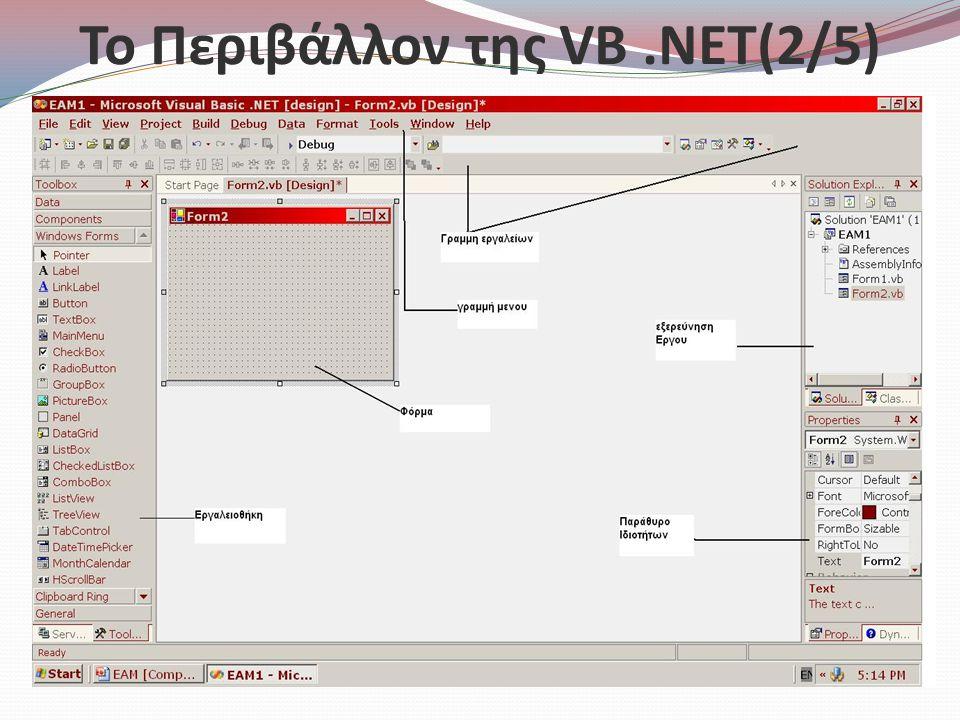 Το Περιβάλλον της VB .NET(2/5)