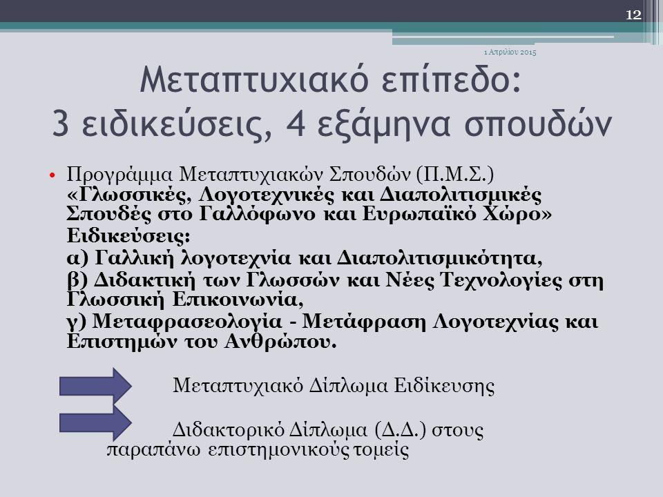 Μεταπτυχιακό επίπεδο: 3 ειδικεύσεις, 4 εξάμηνα σπουδών