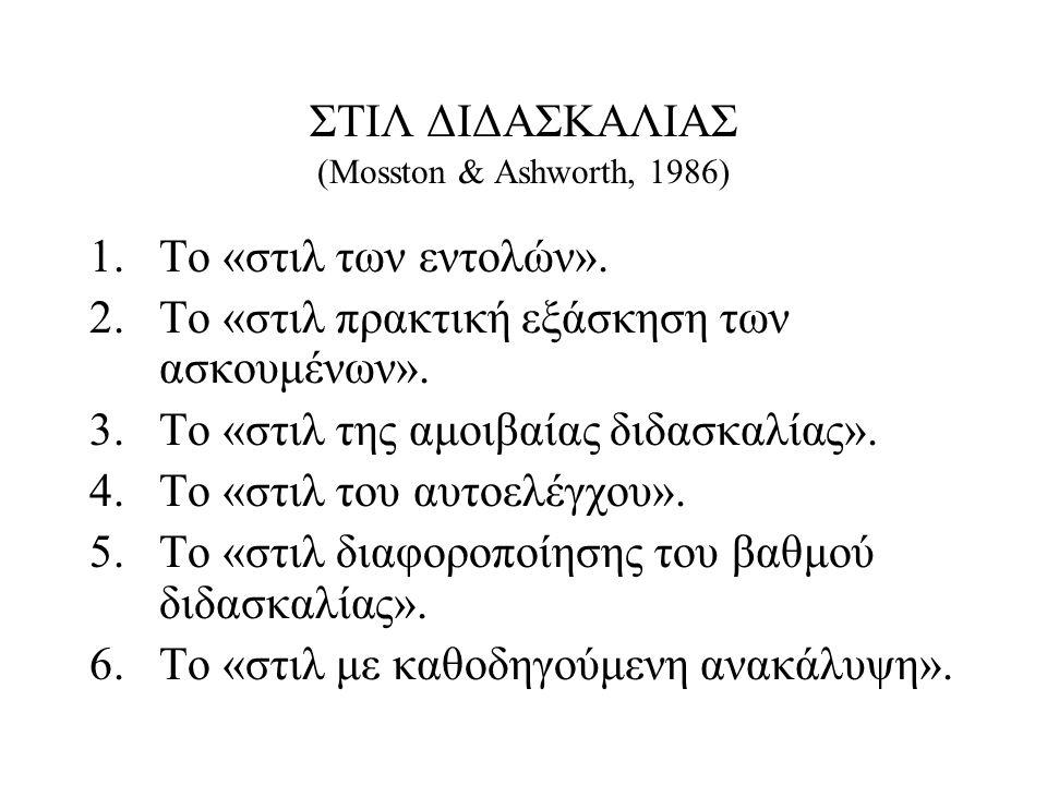 ΣΤΙΛ ΔΙΔΑΣΚΑΛΙΑΣ (Mosston & Ashworth, 1986)