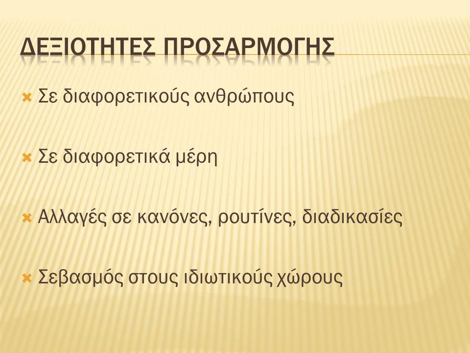 ΔΕΞΙΟΤΗΤΕΣ ΠΡΟΣΑΡΜΟΓΗΣ